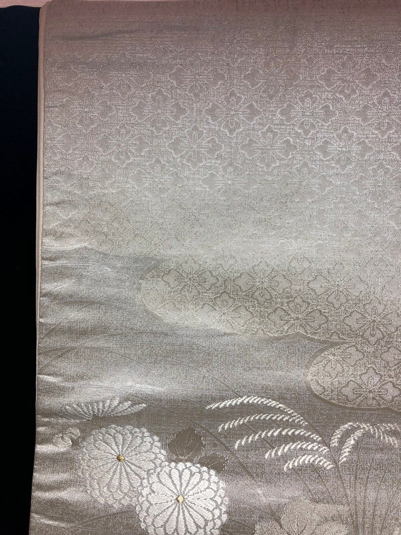 japanese vintage obibelt fukuroobi silver Luxury embroidery wall decor fabric table runnerfree shipping