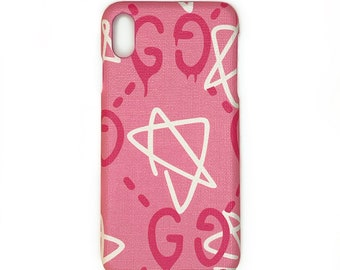 572d6ebb2ec4e7 Custom GG Gucci Ghost inspired coated canvas iPhone Case pink