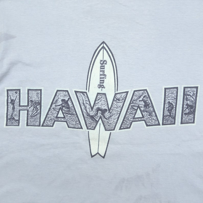 Vintage 80/'s HAWAII Surfing Board Riders Surfer Light Blue Tee Small Size Adult Single Stitch T-Shirt