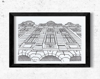Architectural drawing - Arras - Flemish façade on the counter-diving side - Ink - 15x20cm