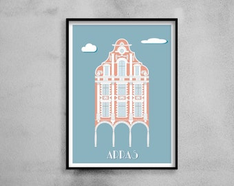Architectural poster - Flemish brick façade - Illustration
