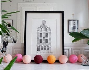 """Architectural drawing - Arras - Flemish Baroque façade """"Au Chapeau Vert"""" - Ink - 30x40cm"""