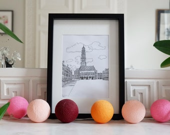 Architectural drawing - Arras - Arras Heroes Square and its Belfry - Ink - 23x31cm