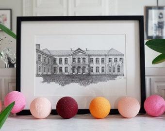 Architectural drawing - Arras - Bishop's Palace - Hotel de l'Prefecture - Ink - 30x40cm