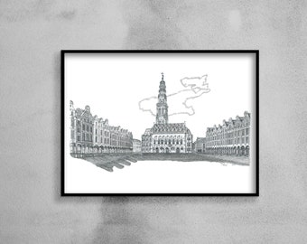 Architectural drawing - Arras - Heroes Square, City Hall and its belfry - Ink - 40x50cm