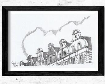 Architectural drawing - Arras - Flemish gables - Ink - 15x20cm