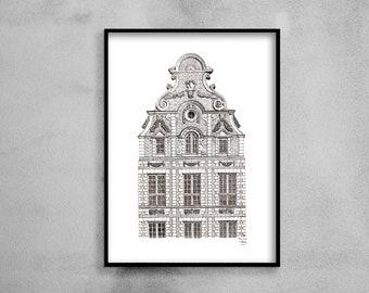 "Architectural drawing - Arras - Flemish Baroque façade ""Eole"" - Ink - 30x40cm"