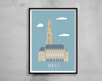 Architectural poster - Arras Town Hall and Belfry - Illustration