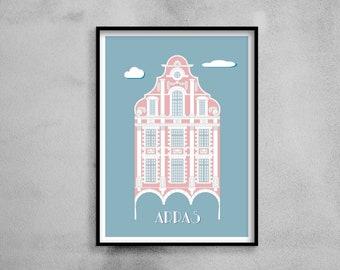 Architectural poster - Flemish façade - Illustration