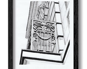 Architectural drawing - Details of ironwork in Arras - Original in ink