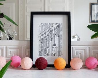 Architectural drawing - Arras - Art Deco facades - Ink - 23x31cm