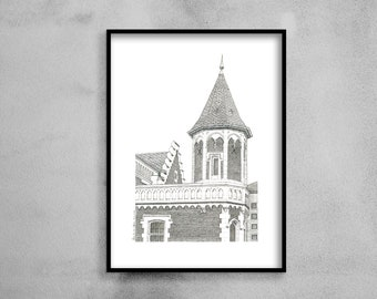 Architectural drawing - Arras - Gothic turret house - Ink - 30x40cm