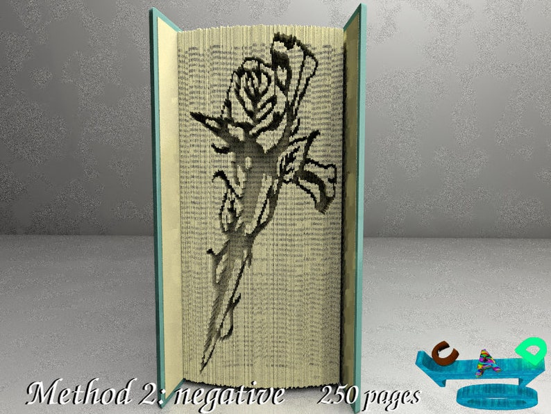 Book Folding Pattern /& Instruction Foldbook Cross-nails with rose