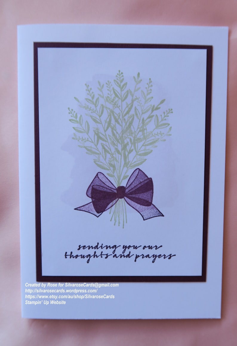 Sincere Condolences Handmade Hand Stamped Wishing You Well Stampin Up card