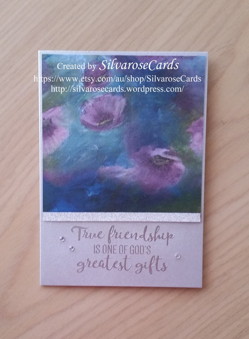 New Perennial Essence Watercolor look Stampin Up DSP Friendship Embossed Handmade Hand Stamped card