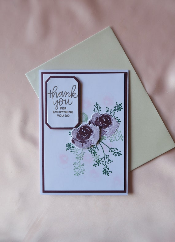 Thank You Thinking of You Kindness Handmade Stampin Up Greeting Card with Envelope