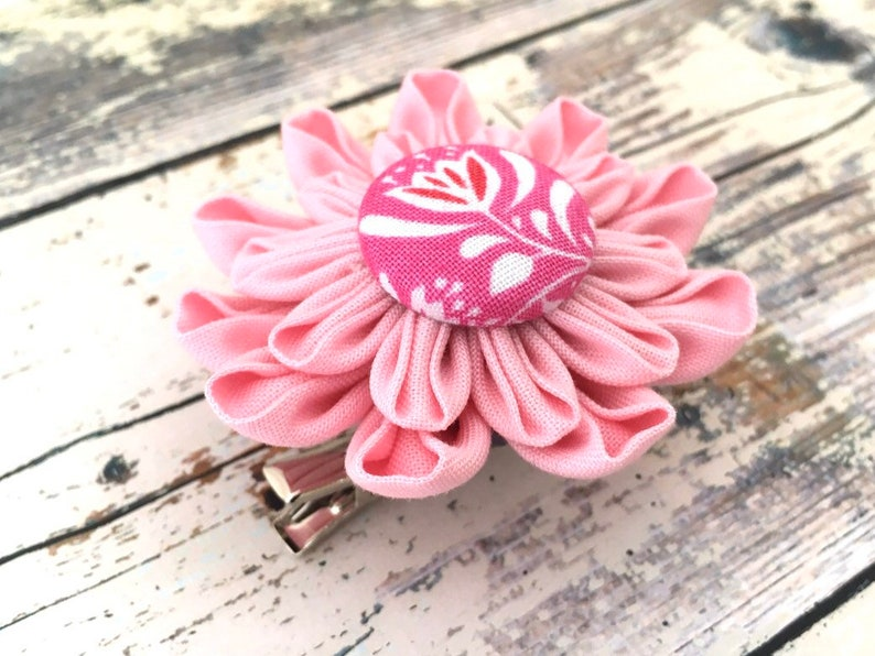 Pink Flower Pin or Hair Clip  Fabric Brooch  Dahlia Pin  Gifts for Her