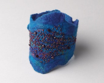 Felted Bracelet Red Sea Wearable Art felted cuff Boho Chic Bracelet cuff Swarovski crystal blue felted bracelet beaded felted bracelet