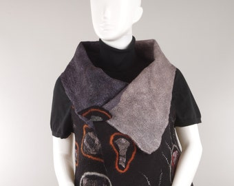 Felted Reversible Seamless Vest FOUR IN ONE, wet felted, woman clothing,  wearable art, Designer clothing, Japandi style