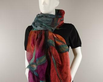 Silk Scarf Wearable Art silk wrap silk scarf light silk wool scarf Ocean Sunset luxurious silk all seasons scarf gift for her