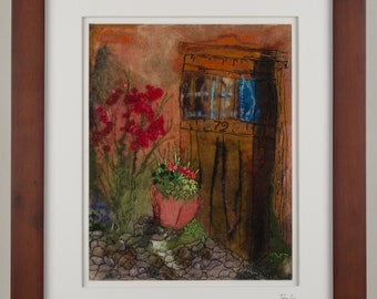 Felted Art  Painting Italy Wall Decor Wall Art felted picture felted painting wool painting felted wall art  door flowers painting