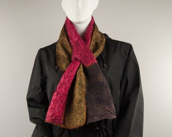 Wearable Art Designer scarf with a hole Silk Wool Scarf soft scarf small scarf unisex scarf two sides scarf reversible nuno felted scarf