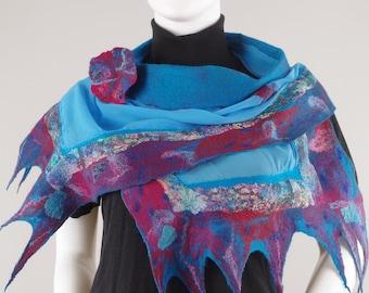 Wearable Art Designer Scarf Nuno Felted Scarf Shawl Silk Wool Scarf Designer Felted Brooch Forest Berries scarf brooch