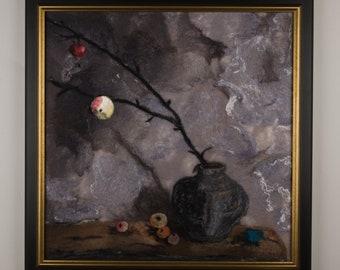"Original Wool Painting ""The Last Apple"" Felted wool painting Wall Art fiber art textile art felted picture felted painting original art"