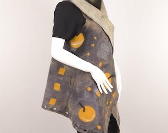 Felted wool Reversible Vest woman wearable art designer vest felted vest wool silk vest yellow apples motif gray yellow vest