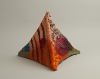 Fiber Art felted tetrahydron felted pyramid home decor decorative felted object 3D art object wool pyramid sculpture collectible