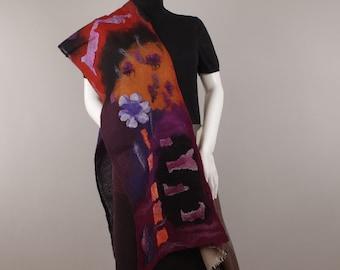 Felted scarf Wearable Art Designer Scarf Silk Wool Scarf gift for her soft wool scarf winter scarf  fall scarf merino scarf woman scarf