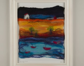 Felted Art  Painting Wall Decor Wall Art felted picture felted painting wool painting Faraway Land felted picture with embroidery fiber art