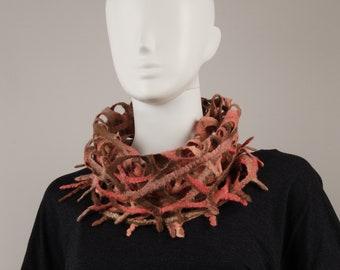 Wearable Art Felted Lacy Snood Dusty Rose fancy lacy scarf Wool scarflette Designer Scarf felted snood felted infinity scarf snood pink