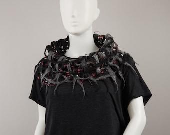 Wearable Art Felted Lacy Snood Universe fancy lacy scarf Wool scarflette Designer Scarf felted snood felted infinity scarf Black snood