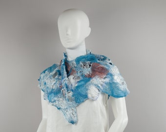 Wearable Art Felted Lacy scarf fancy scarf Silk Wool scarf Designer Scarf felted summer scarf Ocean Waves white teal scarf silky scarf