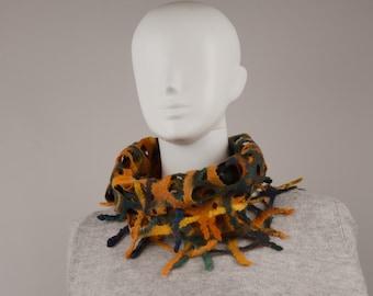 Wearable Art Felted Lacy Snood Fall Colors fancy lacy scarf Wool scarflette Designer Scarf felted snood felted infinity scarf snood orange
