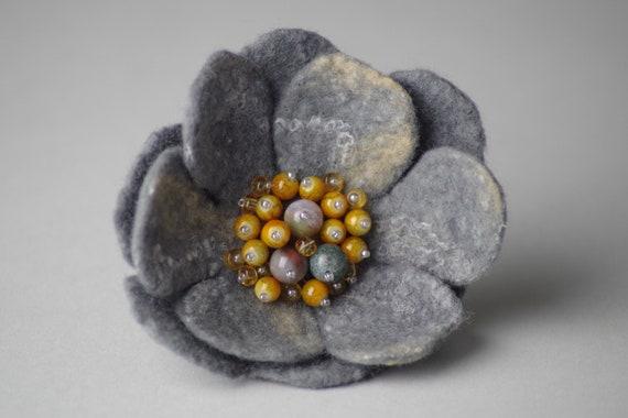 Pin brooch felt pearls felted