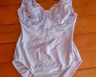 cf97586b284 Vintage Silver Grey Lace and Lycra Bodysuit Teddy Sexy Lingerie