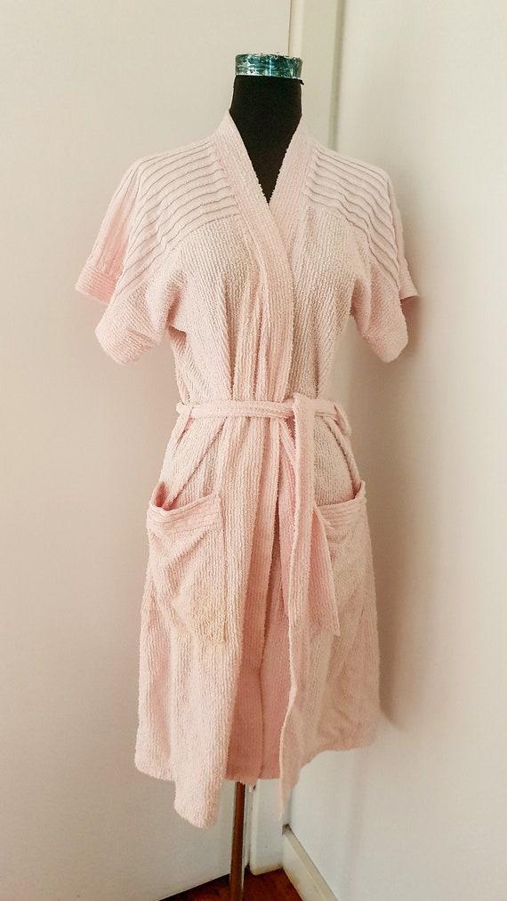 Fluffy Terry Towel Bathrobe Retro Short Robe Vinta