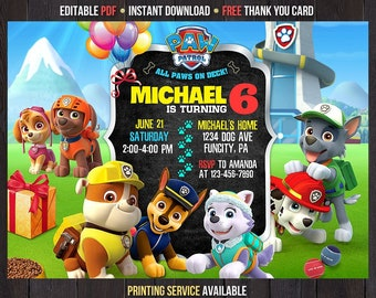 Paw Patrol Invitation Boy Instant Download Template Birthday Editable Printable Thank You Cards Printed