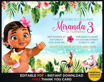 Baby Moana Invitation Prints Editable Birthday Instant Download Party