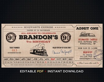 ticket harry potter party harry potter birthday invitation invitations printable harry potter invitation birthday template