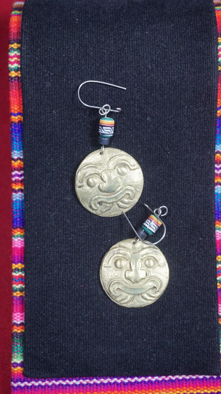 clava head Peruvian bronze earrings chavin