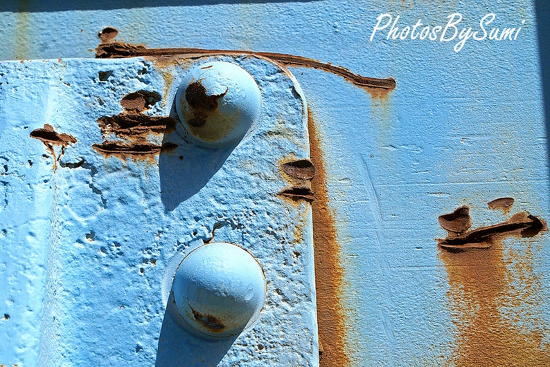 Train · Abstract · Engine · Blue · Rivets · Rust · Shadow · Railroad ·  Instant Digital Download · JPG File