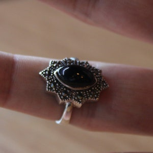 Jet Black Vintage Sterling Silver Ring with Marcasite Stones,Victorian Ring,Baroque Ring,Black Stone Ring,Women Ring,Gift Ring,925 Sterling
