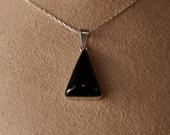 Jet necklace Black Amber pendant Black stone jewelry Stone Necklace Jet Men Black Necklace Black pendant