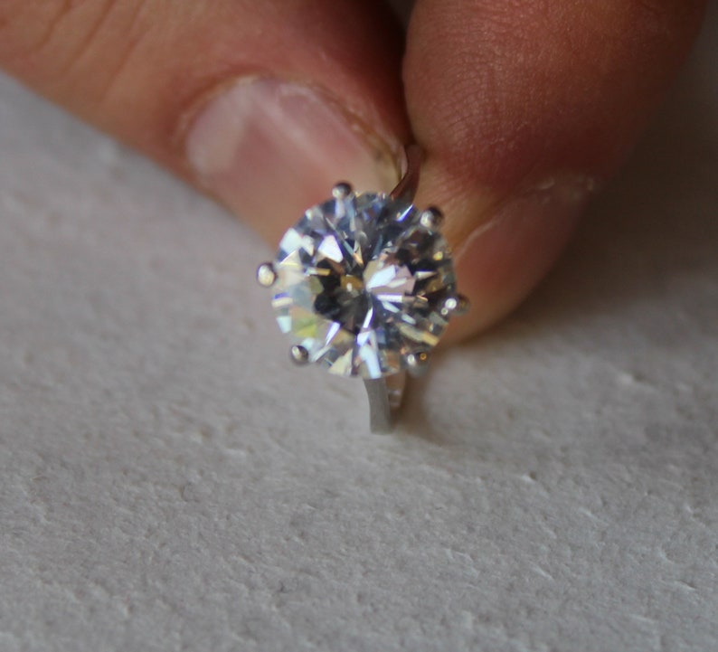 Diamond 925k Sterling Silver Ring Statement Women Ring Proposal Sterling Silver Ring Big Zircon Diamond Ring Engagement Ring for Women