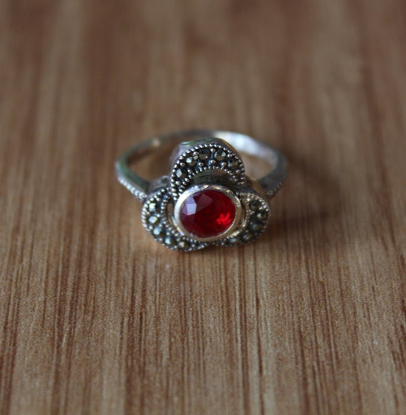 Proposal Ring Red Ruby Vintage Women Ring Red Stone Victorian Ring 925k Sterling Silver Women Ring Engagement Ring Marcasite Stone Ring
