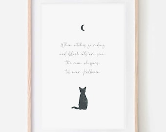 When Witches Go Riding Print   Halloween Print   Witches   Cat   Moon   Spooky Theme