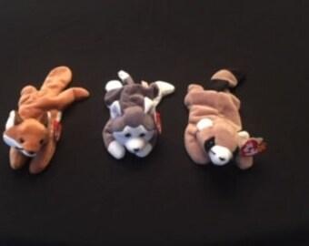 96f72fb092d Beanie Babies TY Fox - Husky - Racoon